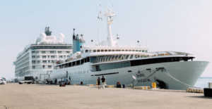 a very large boat with the name Angriya