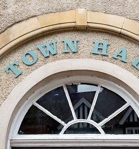 A close up photo of a town hall