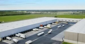 An aerial shot of a large haulage company or distribution centre.