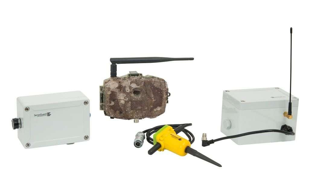 A covert camera kit with camera that looks like a stone and underground motion detectors
