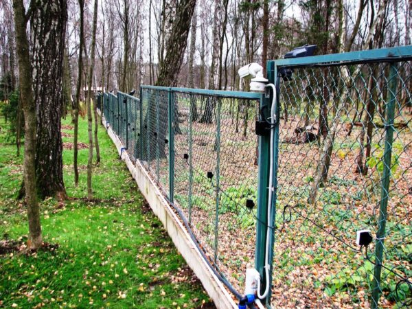 A perimeter fence in woodland with a CU-07 detection system attatched