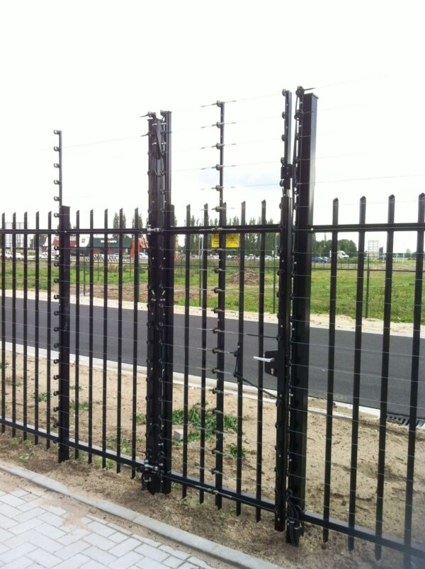 POWER-SENS security system mounted alongside a metal fence for added security.