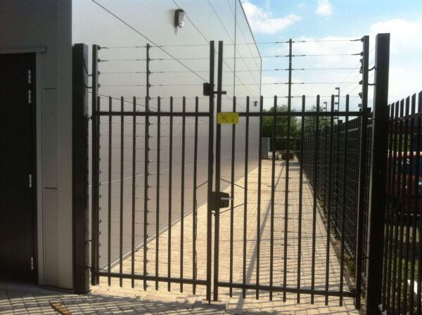 POWER-SENS security system mounted on a metal gate